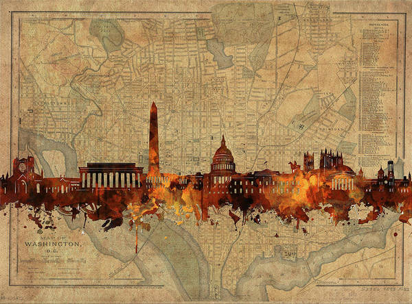 Wall Art - Digital Art - Washington Dc Skyline Vintage by Bekim M