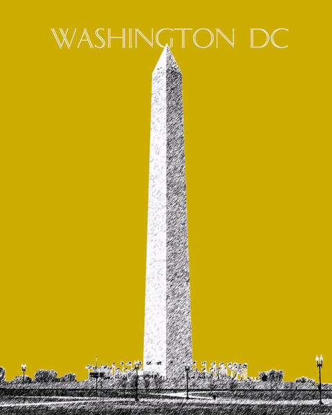 Wall Art - Digital Art - Washington Dc Skyline Washington Monument - Gold by DB Artist
