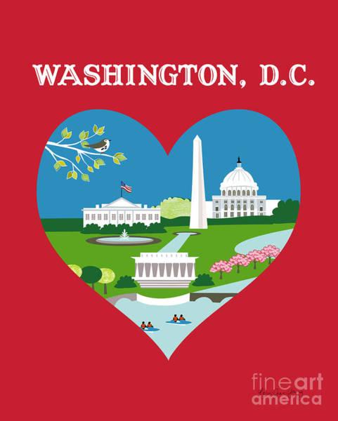 Wall Art - Digital Art - Washington, D.c. Vertical Skyline - Heart by Karen Young