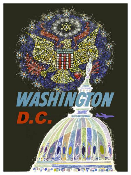 Washington D.c Painting - Washington D.c. Vintage Airline Poster by Long Shot