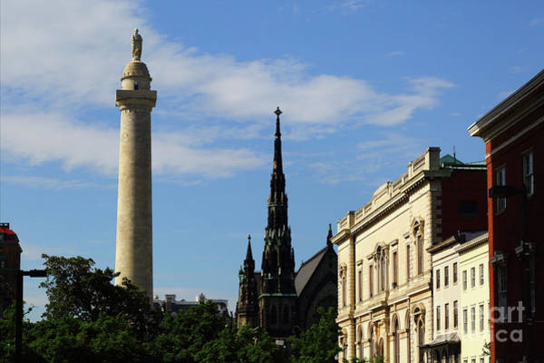 Photograph - Washington Monument And United Methodist Church Spire Baltimore by James Brunker