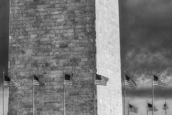 Photograph - Washington Monument And Usa Flags Bw by Susan Candelario