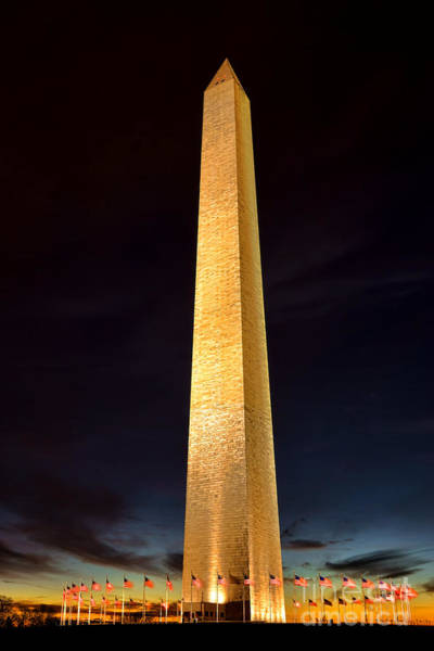 Edifice Photograph - Washington Monument At Night  by Olivier Le Queinec