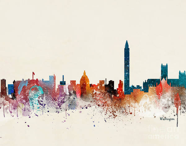 Wall Art - Painting - Washington Skyline by Bri Buckley