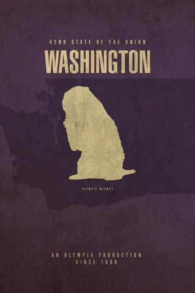 Wall Art - Mixed Media - Washington State Facts Minimalist Movie Poster Art by Design Turnpike