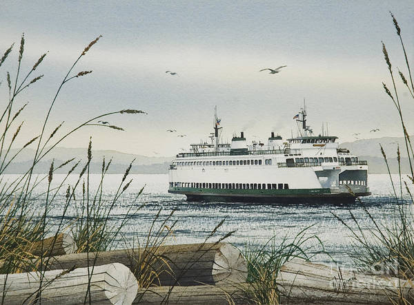 San Juan Islands Wall Art - Painting - Washington State Ferry by James Williamson