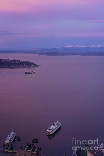 Seattle Skyline Photograph - Washington State Ferry Sunrise Light by Mike Reid