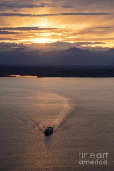 Seattle Skyline Photograph - Washington State Ferry Sunset by Mike Reid