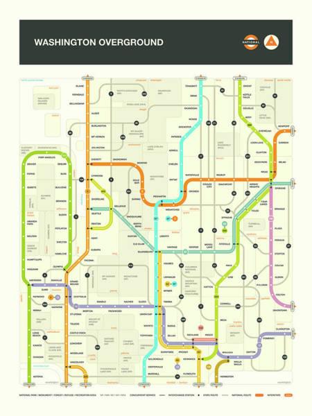 Subway Map Wall Art - Digital Art - Washington State Map by Jazzberry Blue