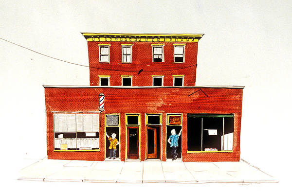 Painting - Washington Street Barbers by William Renzulli