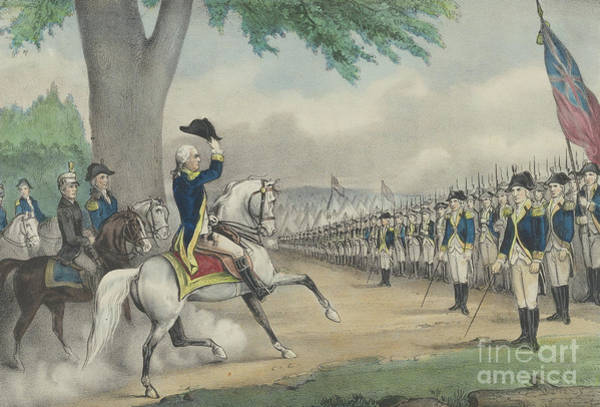 Currier And Ives Painting - Washington Taking Command Of The American Army At Cambridge, Massachusetts On 3 July 1775 by Currier and Ives