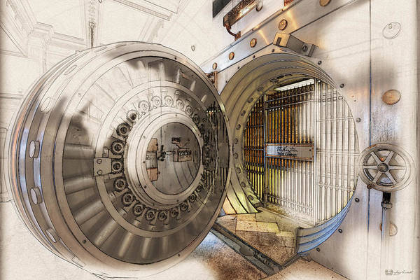 Digital Art - Washington Trust Company Bank Vault Door And Lock by Serge Averbukh