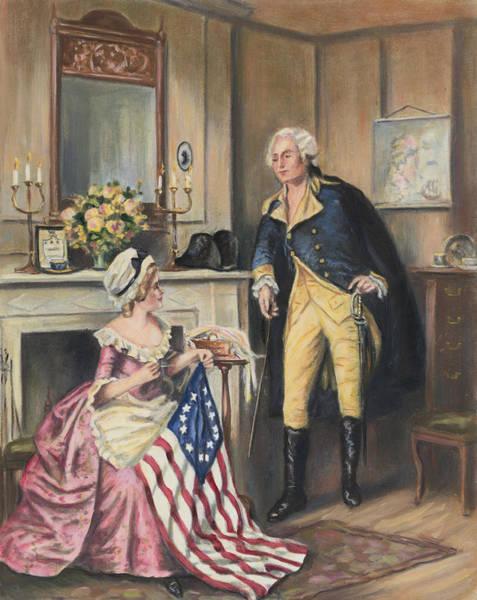 Statesman Wall Art - Painting - Washington With Betsy Ross by Percy Moran
