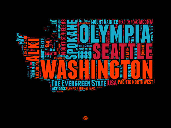 Seattle Digital Art - Washington Word Cloud Map 1 by Naxart Studio