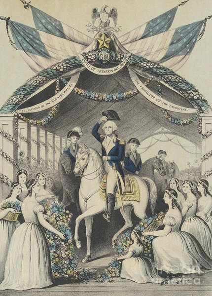 Wall Art - Drawing - Washington's Reception By The Ladies On Passing The Bridge At Trenton by Currier and Ives