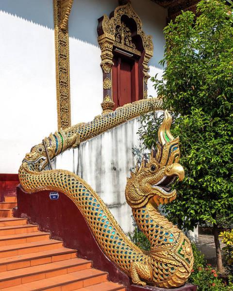 Chang Mai Wall Art - Photograph - Wat Chiang Chom Phra Wihan Naga Dthcm0892 by Gerry Gantt