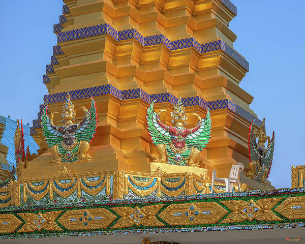 Photograph - Wat Khunchan Merit Shrines Base Of One Of Three Prangs Or Chedi  by Gerry Gantt