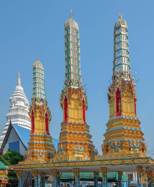 Photograph - Wat Khunchan Merit Shrines Three Prangs Or Chedi Dthb2025 by Gerry Gantt
