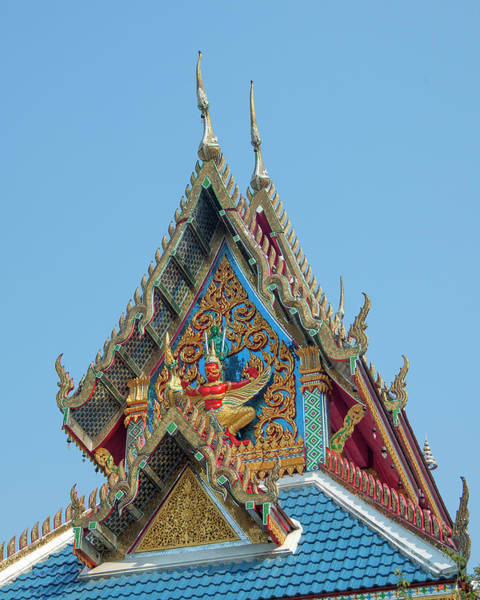 Photograph - Wat Khunchan Wihan Of The White Jade Monk Gable Dthb2044 by Gerry Gantt
