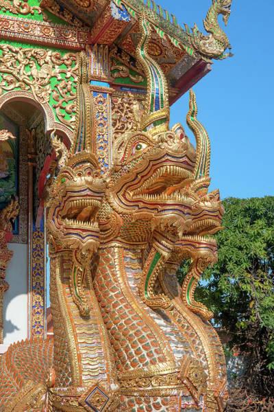 Photograph - Wat Mahawan Wihan Luang Triple-headed Naga Dthlu0279 by Gerry Gantt