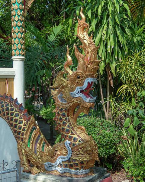 Photograph - Wat Nam Lom Phra Ubosot Makara And Naga Guardian Dthla0102 by Gerry Gantt