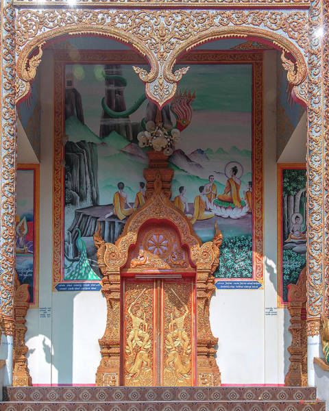 Photograph - Wat Nam Phueng Phra Wihan Entrance Painting And Doors Dthla0004 by Gerry Gantt