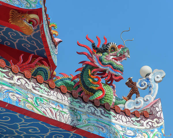 Photograph - Wat Pa Neramit Mae Taeng Chinese Shrine Roof Dragon Dthcm2064 by Gerry Gantt