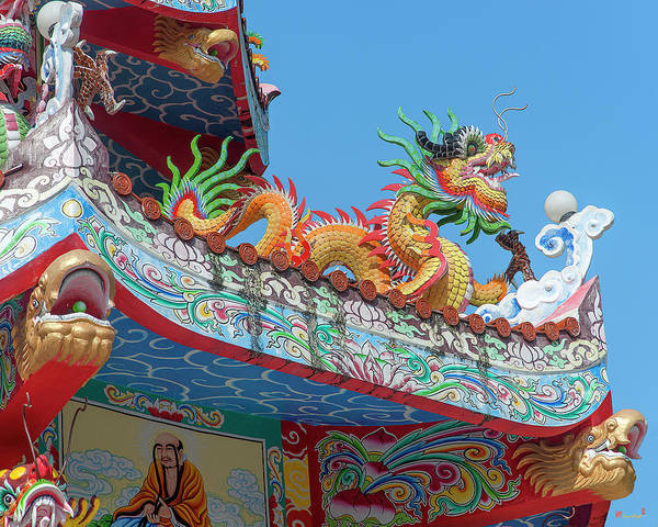 Photograph - Wat Pa Neramit Mae Taeng Chinese Shrine Roof Dragon Dthcm2065 by Gerry Gantt
