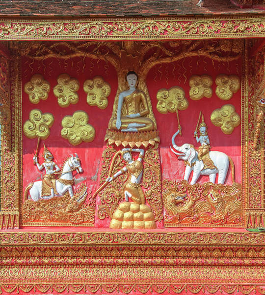 Photograph - Wat Phra That Lampang Luang Phra Wihan Wall Mural Dthla0071 by Gerry Gantt