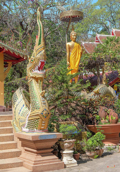 Photograph - Wat Ram Poeng Phra Wihan Buddha And Makara And Naga Guardian Dthcm2436 by Gerry Gantt
