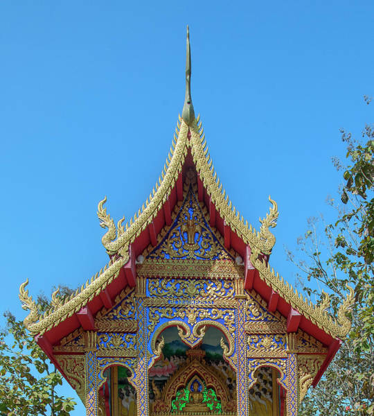 Photograph - Wat Rong Sao Phra Ubosot Gable Dthlu0165 by Gerry Gantt