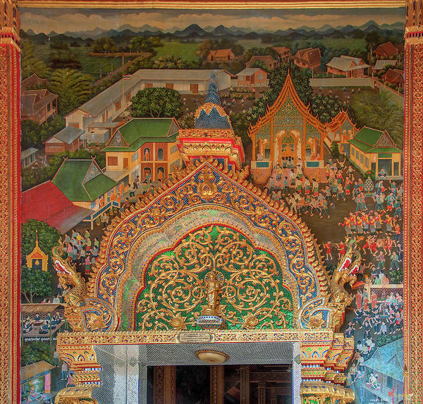 Photograph - Wat Rong Sao Wihan Luang Door Lintel And Entrance Painting Dthlu0153 by Gerry Gantt