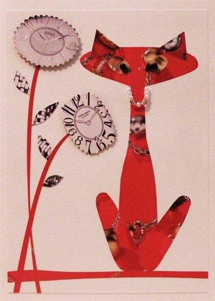 Cut-out Mixed Media - Watch-cat by Charlotte Nunn