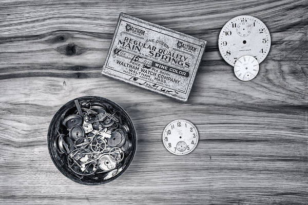 Clock Wall Art - Photograph - Watch Parts On Wood Still Life by Tom Mc Nemar