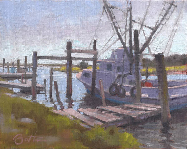 Shrimp Boat Wall Art - Painting - Watch Your Step by Todd Baxter