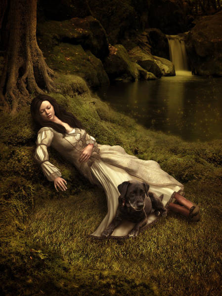 Outdoors Mixed Media - Watching Over Her Sleep by Britta Glodde