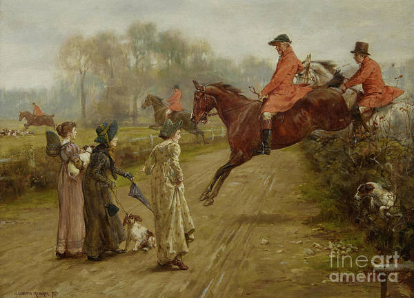 Spectators Painting - Watching The Hunt by George Goodwin Kilburne