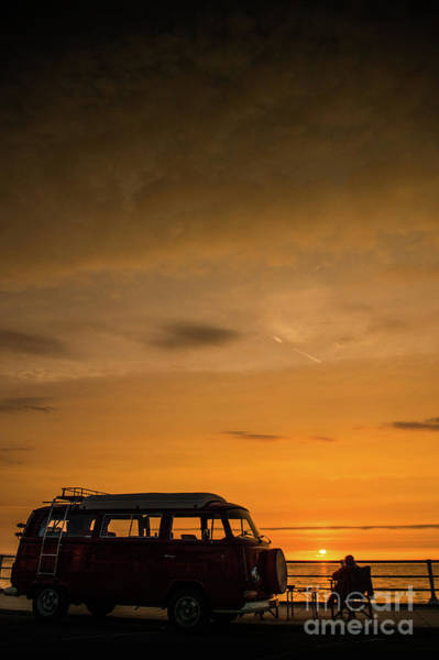 Photograph - Watching The Sunset By Her Campervan by Keith Morris