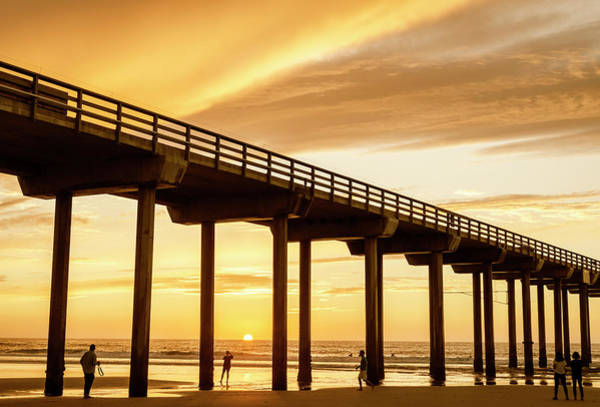 Scripps Pier Photograph - Watching The Sunset by Joseph S Giacalone