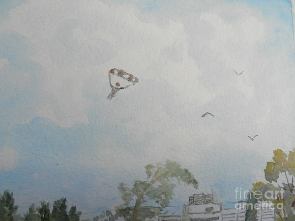 Wall Art - Painting - Watching Them As They Come Into Land by Pamela Meredith