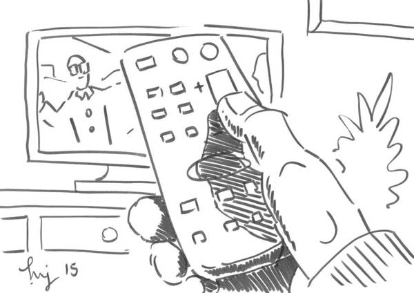 Drawing - Watching Tv Using The Remote Control Cartoon - Goggle Box by Mike Jory