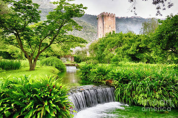 Wall Art - Photograph - Water Cascades With A Castle Tower by George Oze