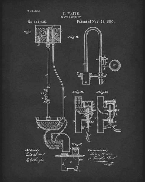 Drawing - Water Closet Patent Art Black by Prior Art Design