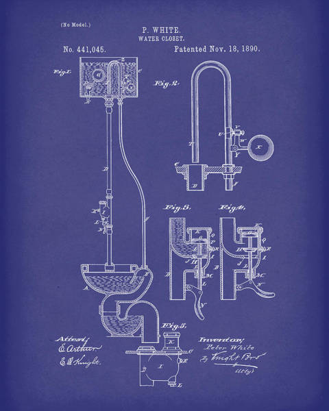 Drawing - Water Closet Patent Art Blue by Prior Art Design
