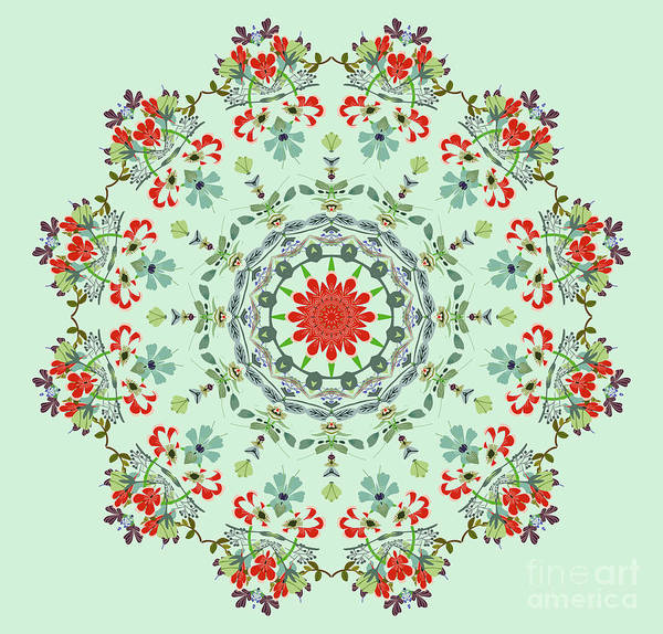 Wall Art - Painting - Water Color Garden Kaleidoscope by Heinz G Mielke