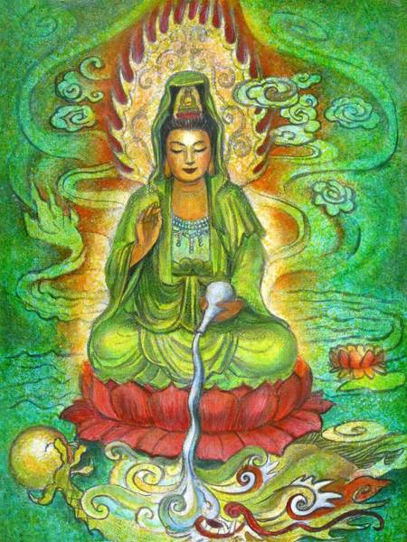 Goddess Wall Art - Painting - Water Dragon Kuan Yin by Sue Halstenberg