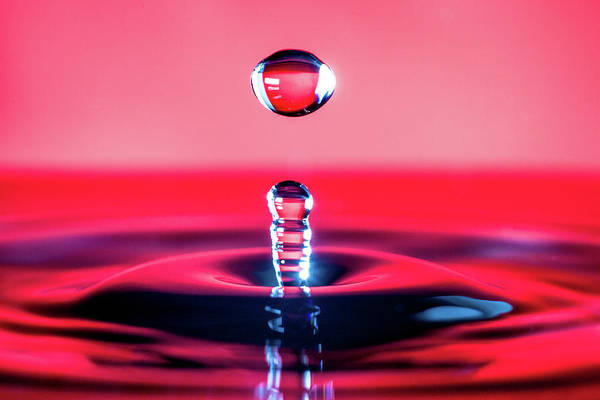 Water Drop In Red Art Print