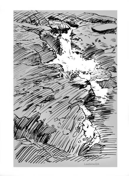 Wall Art - Drawing - Water Fall Rocky Mountains by John Lautermilch