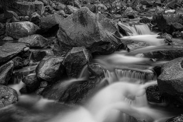 Photograph - Water Falling On Boulder Creek In Black And White by James BO Insogna