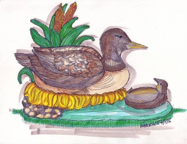 Drawing - Water Fowl Motif #1 by Richard Wambach